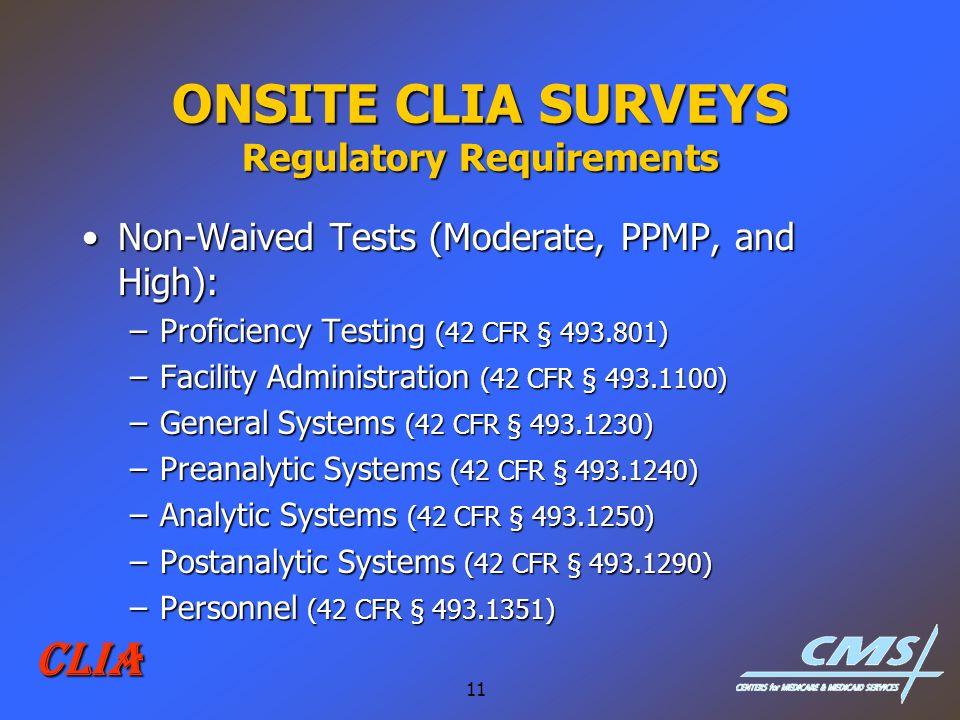 ONSITE CLIA SURVEYS Regulatory Requirements