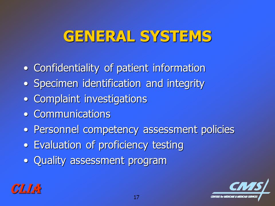 GENERAL SYSTEMS CLIA Confidentiality of patient information