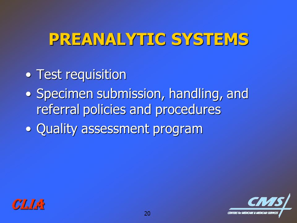 PREANALYTIC SYSTEMS CLIA Test requisition