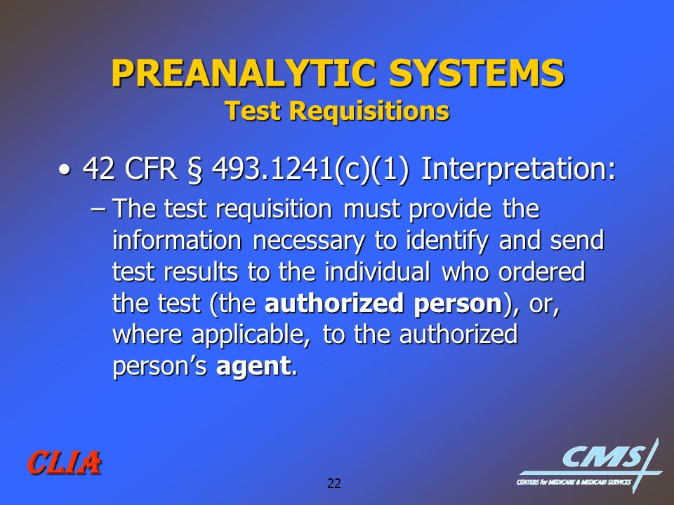 PREANALYTIC SYSTEMS Test Requisitions