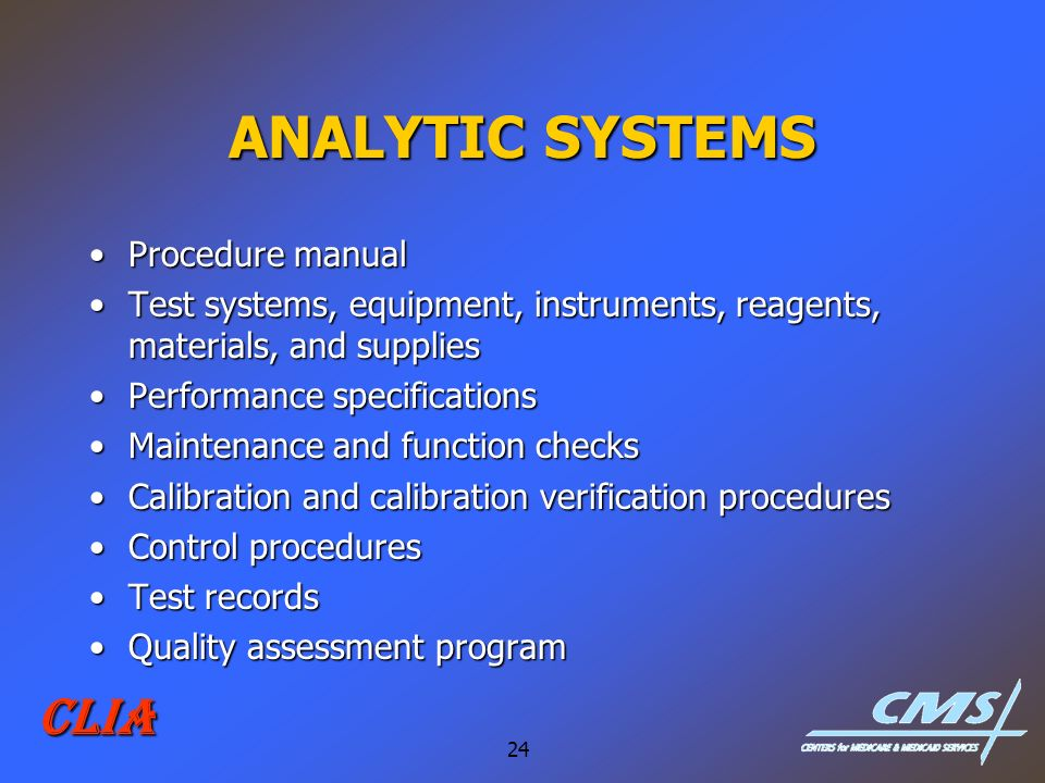 ANALYTIC SYSTEMS CLIA Procedure manual