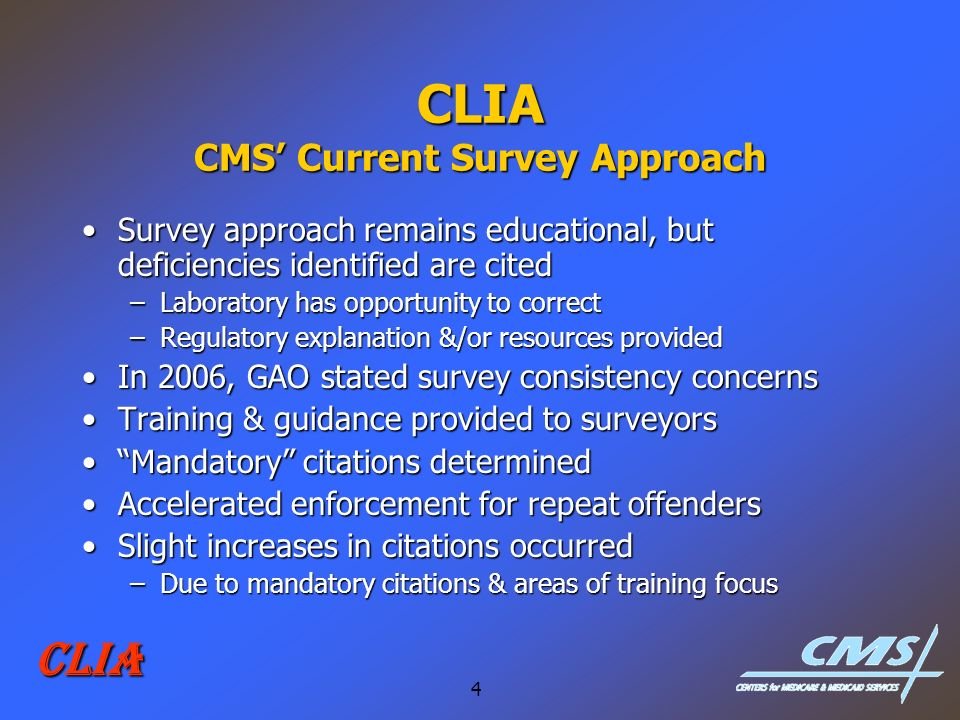 CLIA CMS' Current Survey Approach