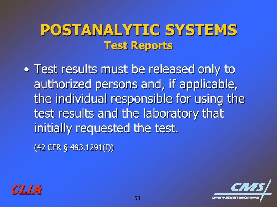 POSTANALYTIC SYSTEMS Test Reports