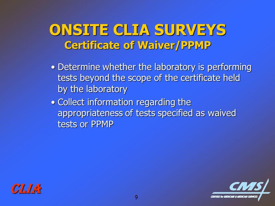 ONSITE CLIA SURVEYS Certificate of Waiver/PPMP