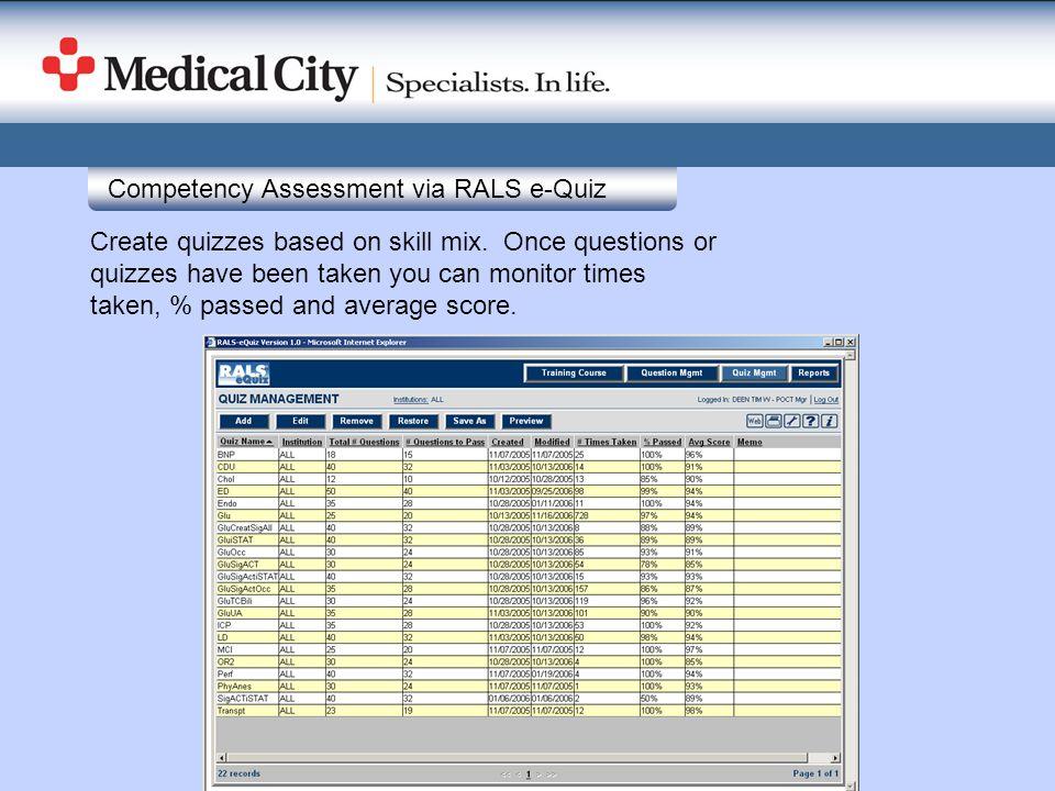 Competency Assessment via RALS e-Quiz