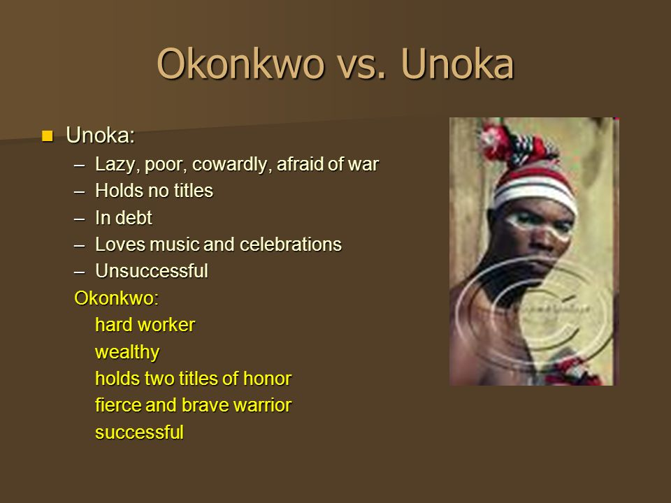 compare and contrast okonkwo and unoka things ✅ need help on 【relationship between okonkwo and unoka in things fall okonkwo views his son as a symbol of laziness just like unoka, and so he does his best to prevent onkonkwo never wants to appear weak in front of anyone so that no one will compare him to his father.