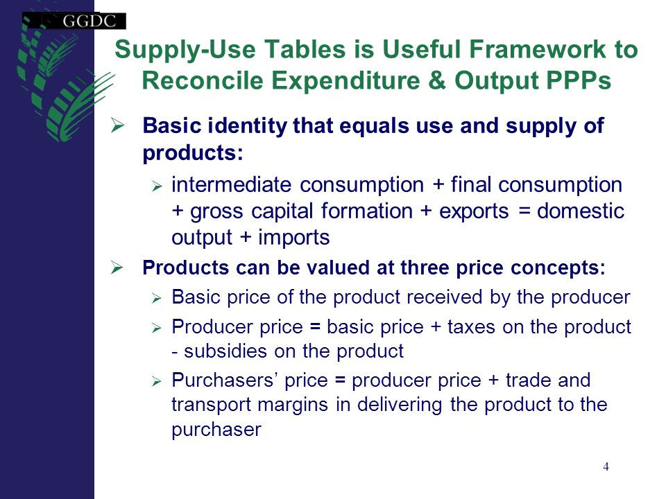 Supply-Use Tables is Useful Framework to Reconcile Expenditure & Output PPPs