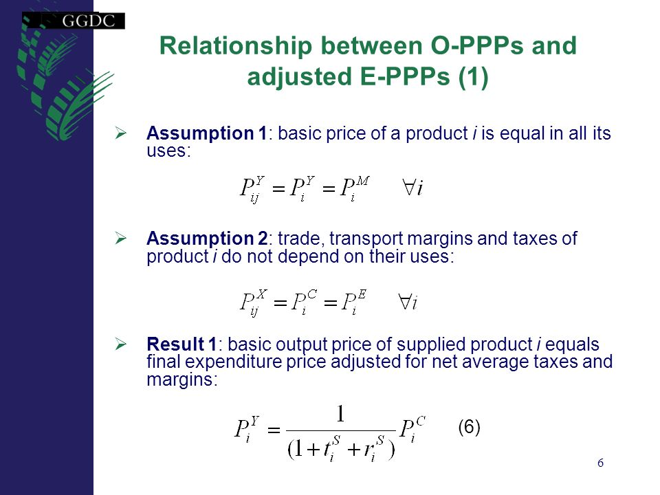 Relationship between O-PPPs and adjusted E-PPPs (1)