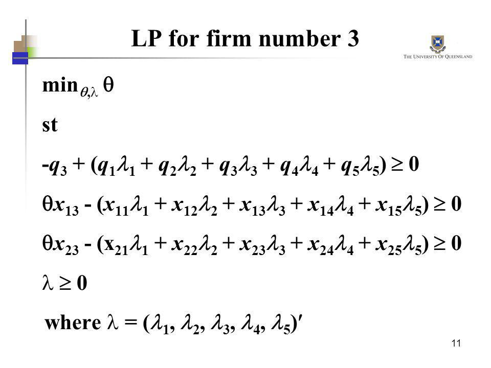 LP for firm number 3 min,  st