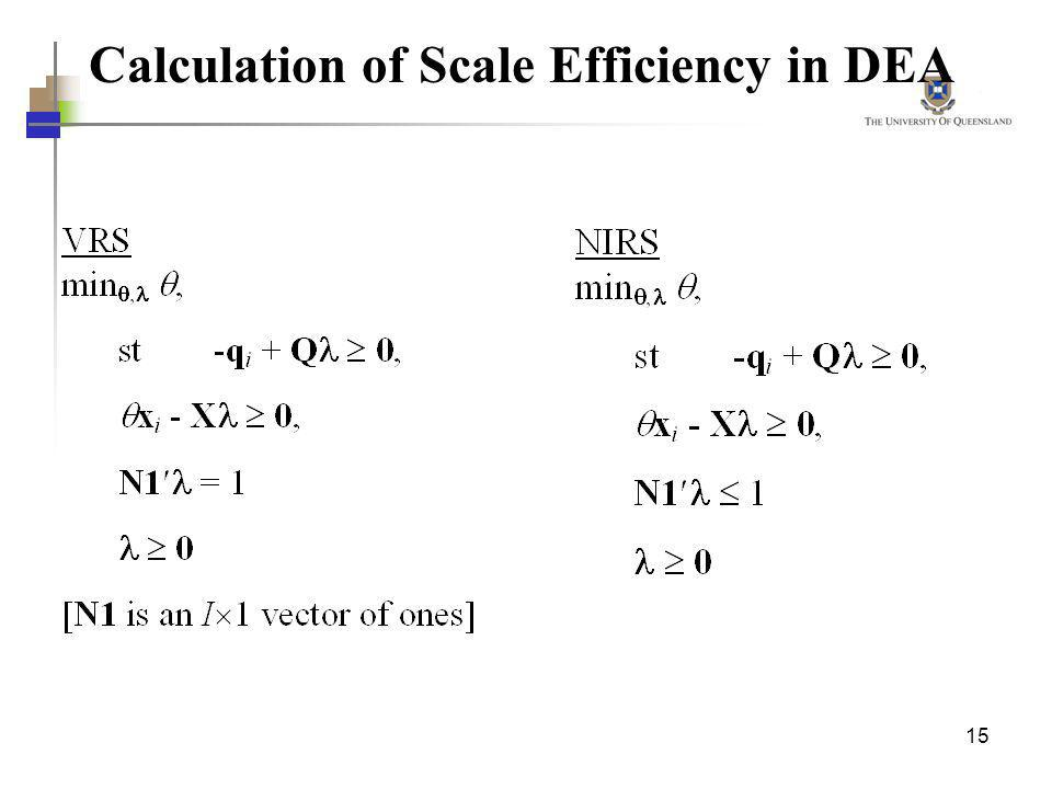 Calculation of Scale Efficiency in DEA