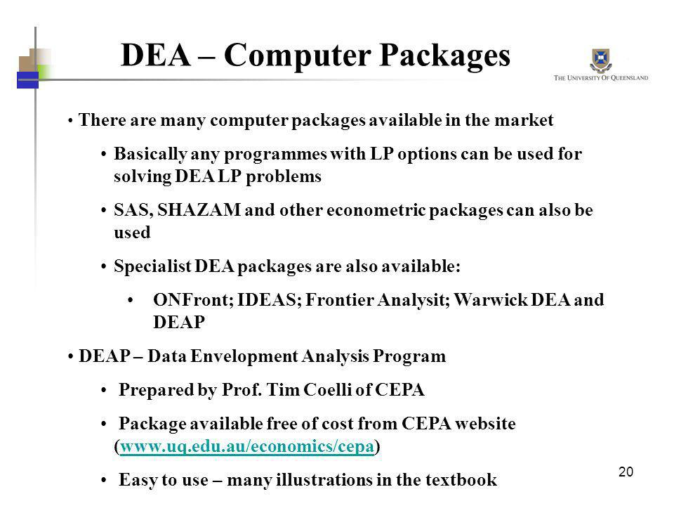 DEA – Computer Packages