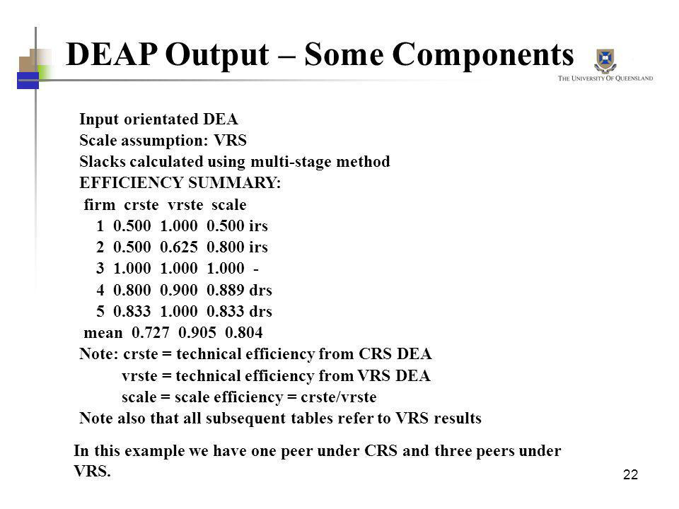 DEAP Output – Some Components