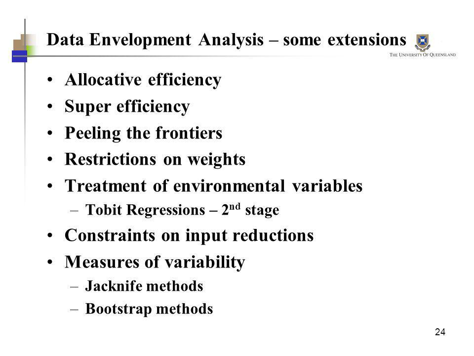 Data Envelopment Analysis – some extensions