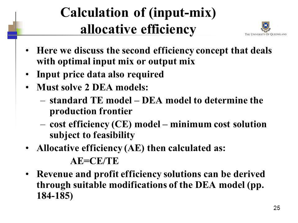 Calculation of (input-mix) allocative efficiency