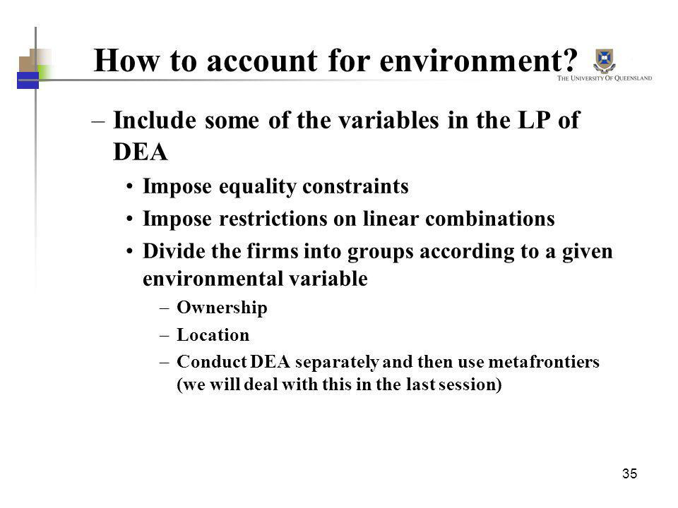 How to account for environment