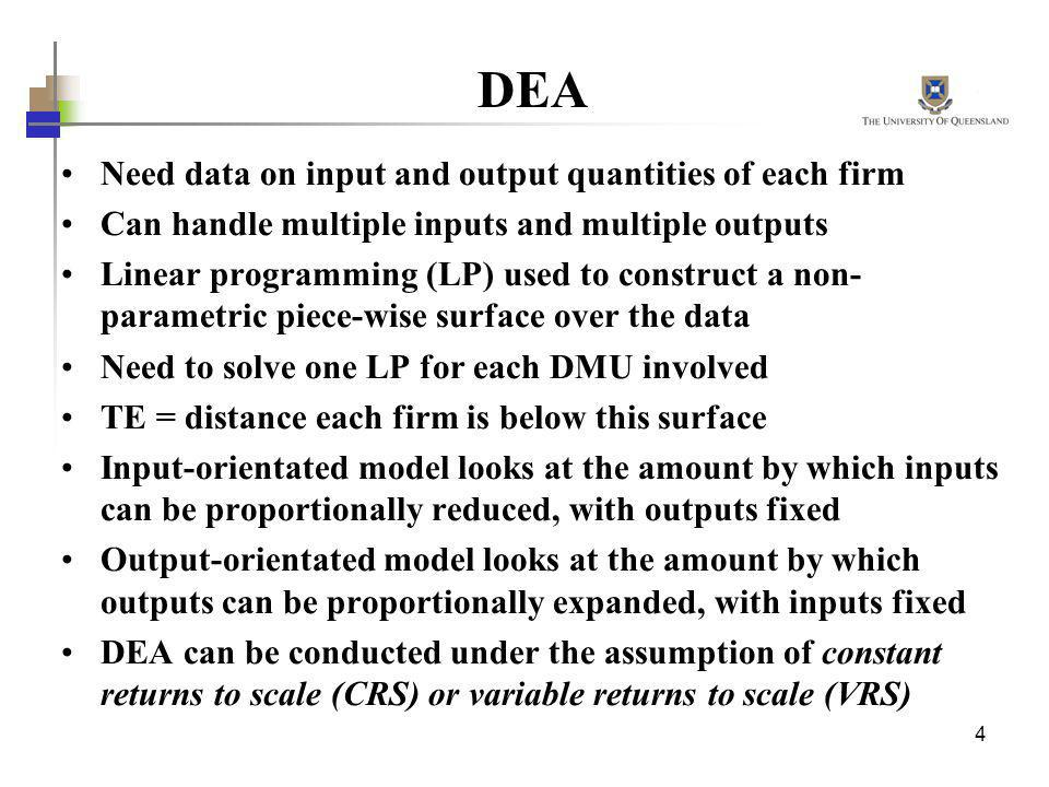 DEA Need data on input and output quantities of each firm