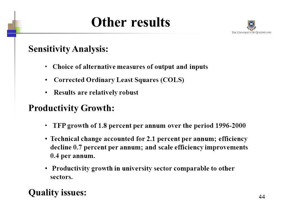 Other results Sensitivity Analysis: