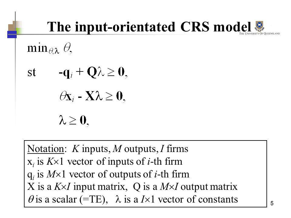 The input-orientated CRS model