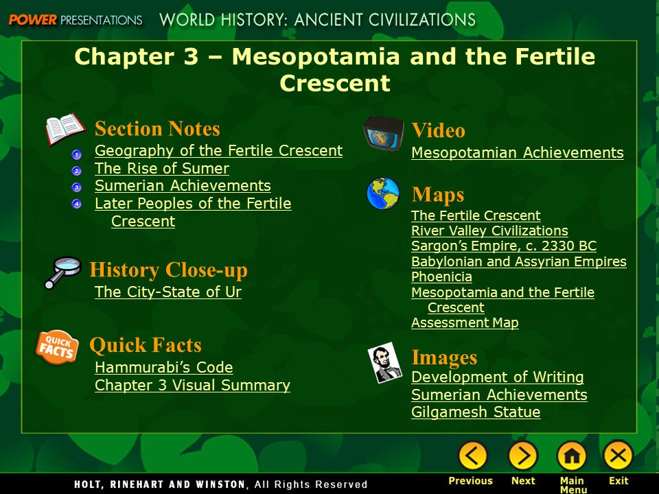 Chapter 3  Mesopotamia and the Fertile Crescent  ppt video