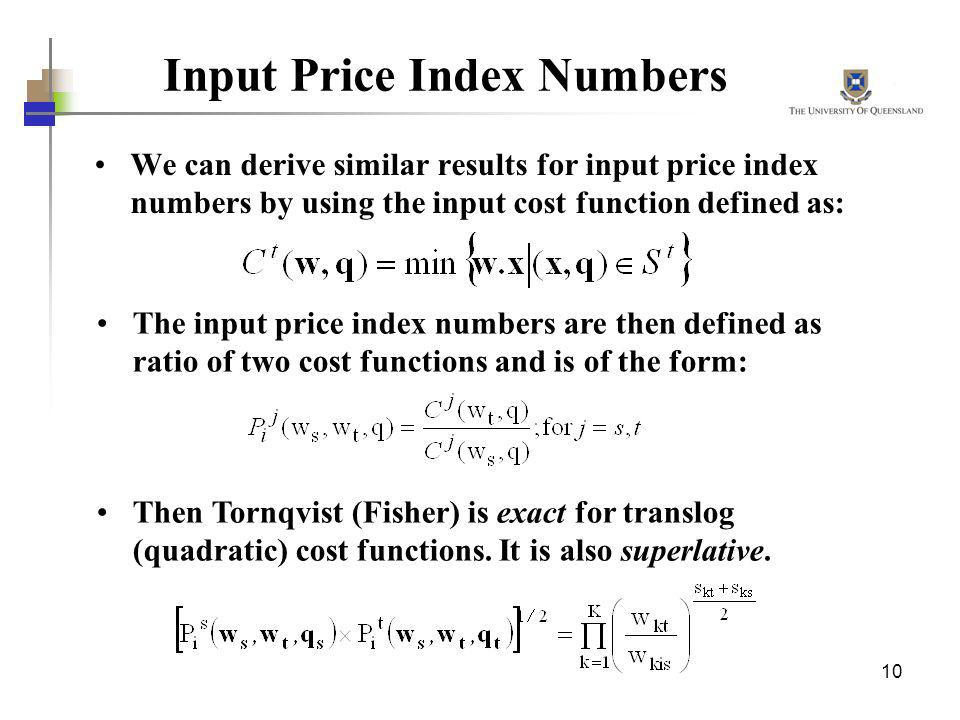 Input Price Index Numbers