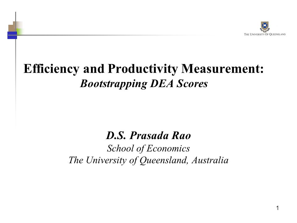 Efficiency and Productivity Measurement: Bootstrapping DEA Scores