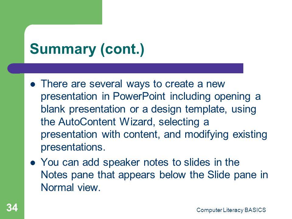Key applications module lesson 19 powerpoint essentials ppt computer literacy basics toneelgroepblik Gallery
