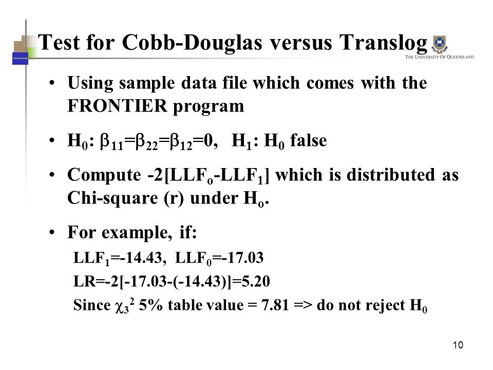 Test for Cobb-Douglas versus Translog