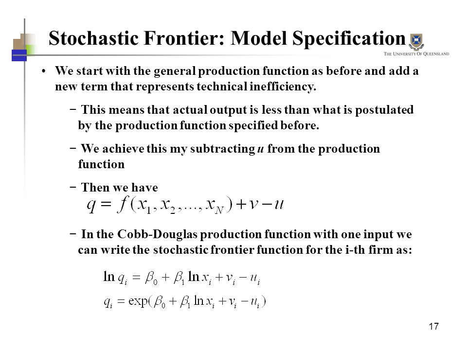 Stochastic Frontier: Model Specification