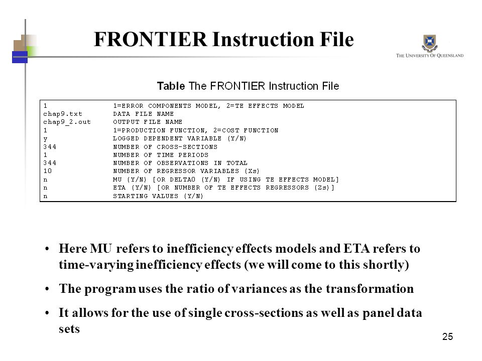 FRONTIER Instruction File