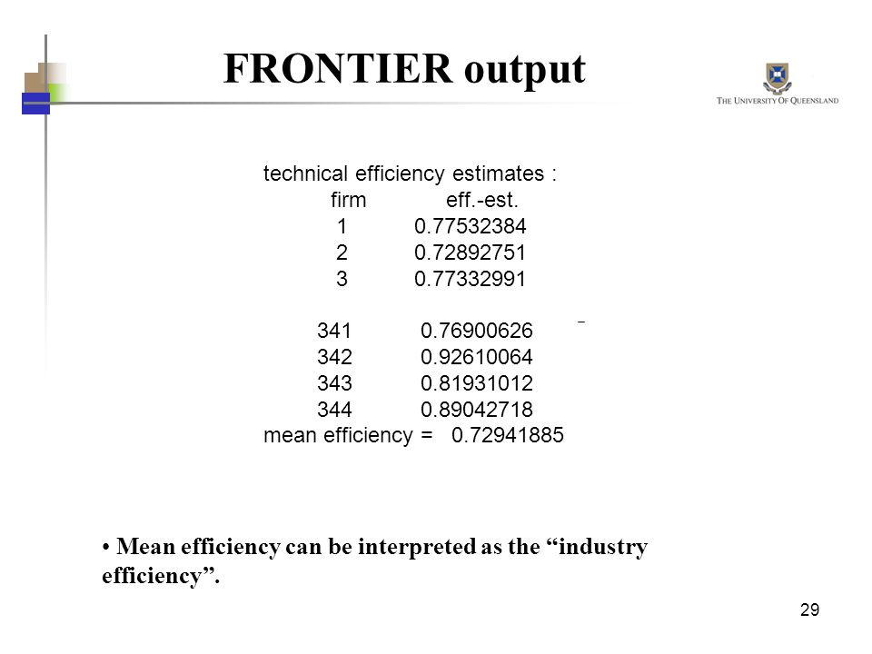 technical efficiency estimates :