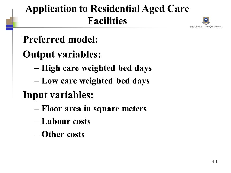 Application to Residential Aged Care Facilities