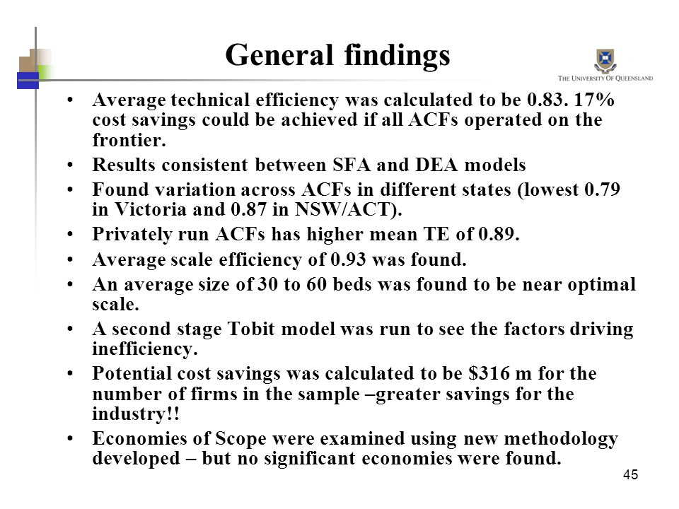 General findings Average technical efficiency was calculated to be 0.83. 17% cost savings could be achieved if all ACFs operated on the frontier.