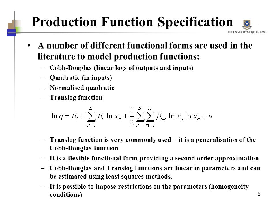 Production Function Specification