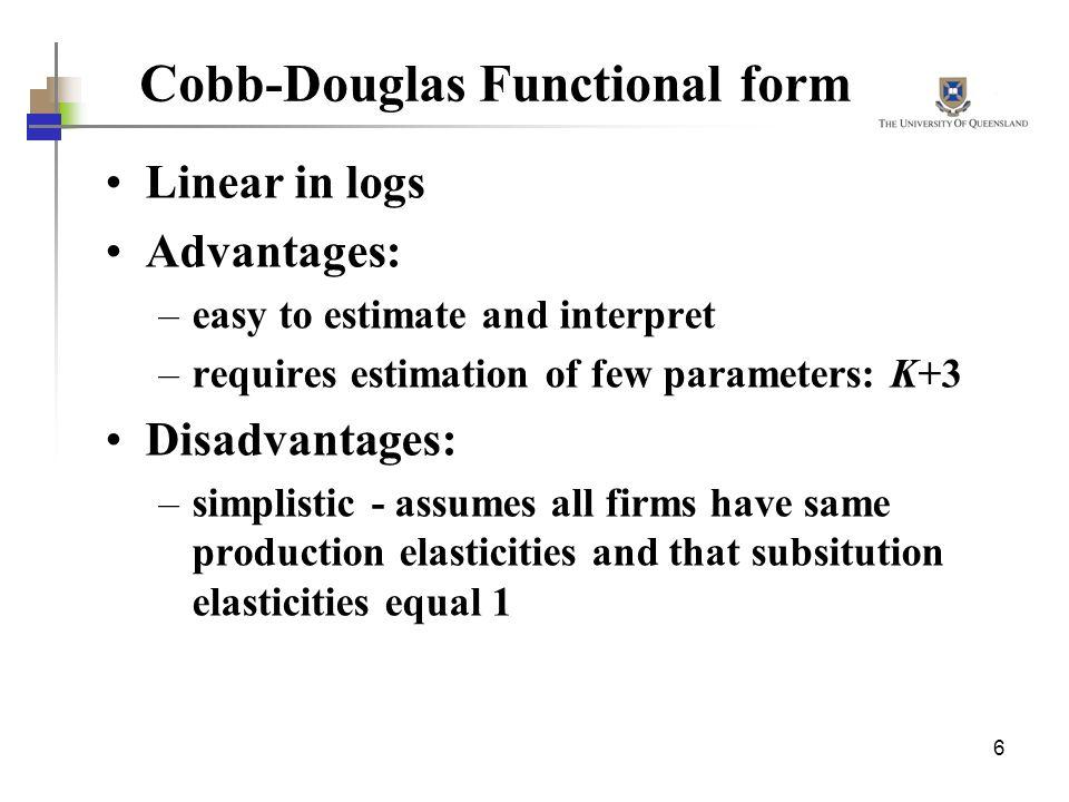 Cobb-Douglas Functional form