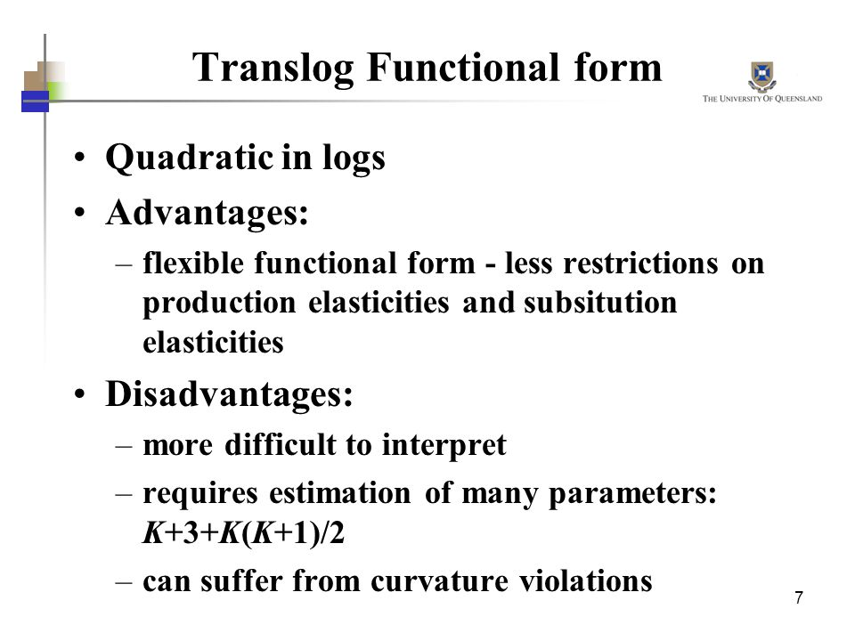 Translog Functional form