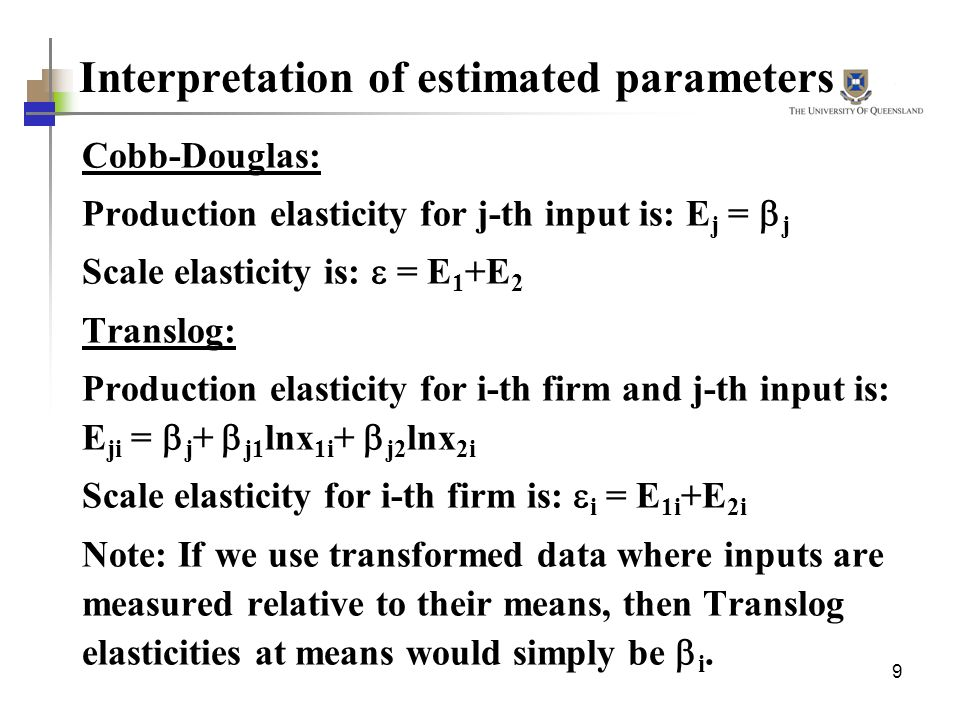 Interpretation of estimated parameters
