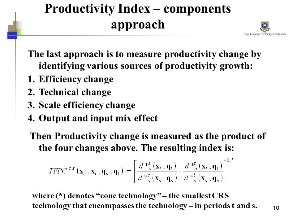 Productivity Index – components approach