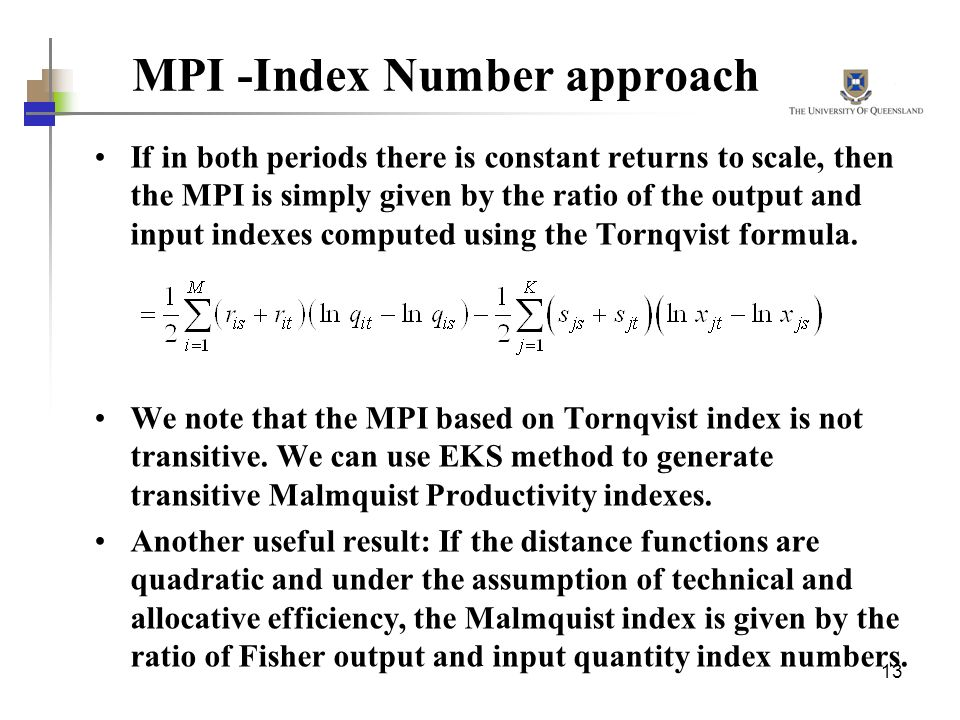MPI -Index Number approach