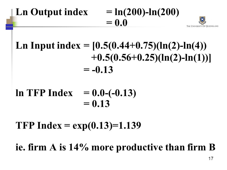 Ln Output index = ln(200)-ln(200)