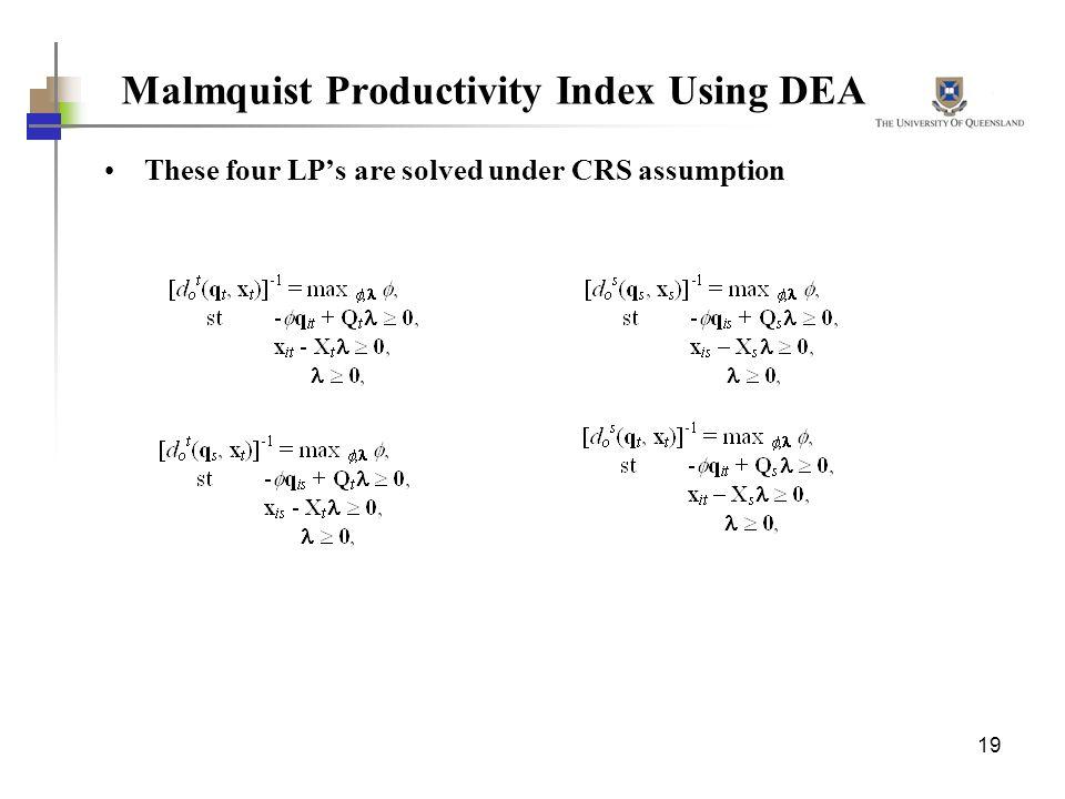 Malmquist Productivity Index Using DEA