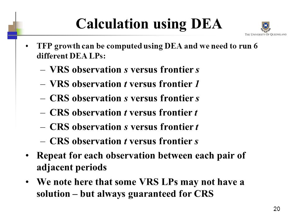 Calculation using DEA VRS observation s versus frontier s