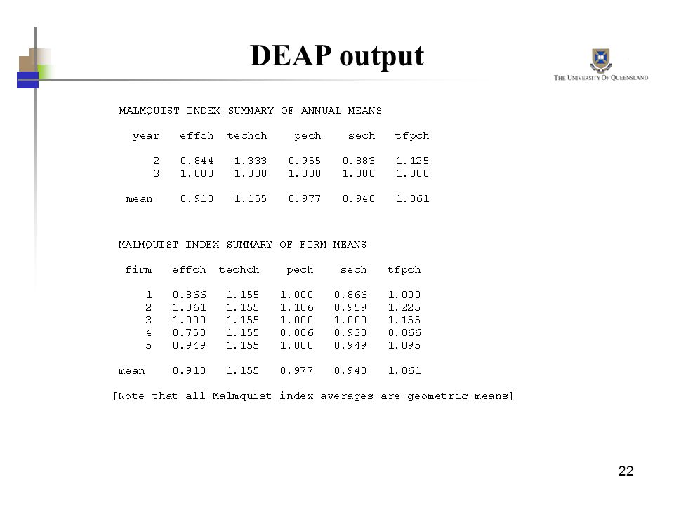 DEAP output See Fare et al (1994) or Chapter 10 in CRB for further details.