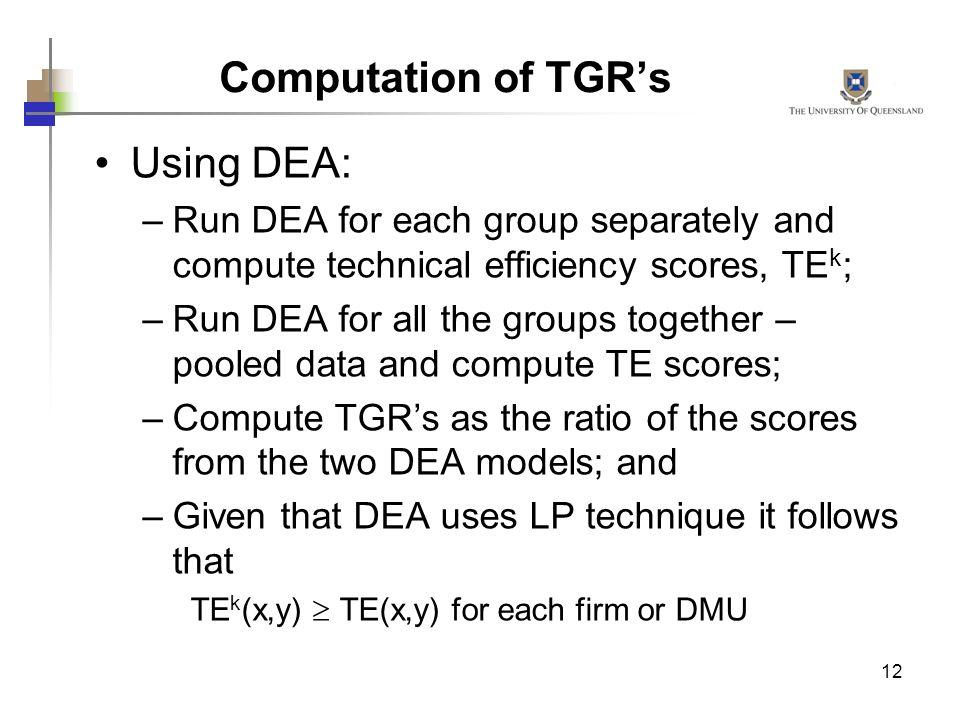 Computation of TGR's Using DEA: