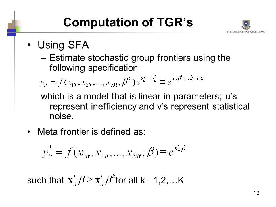 Computation of TGR's Using SFA