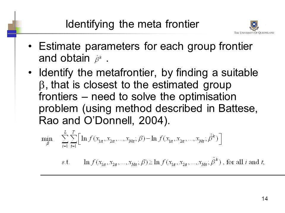Identifying the meta frontier