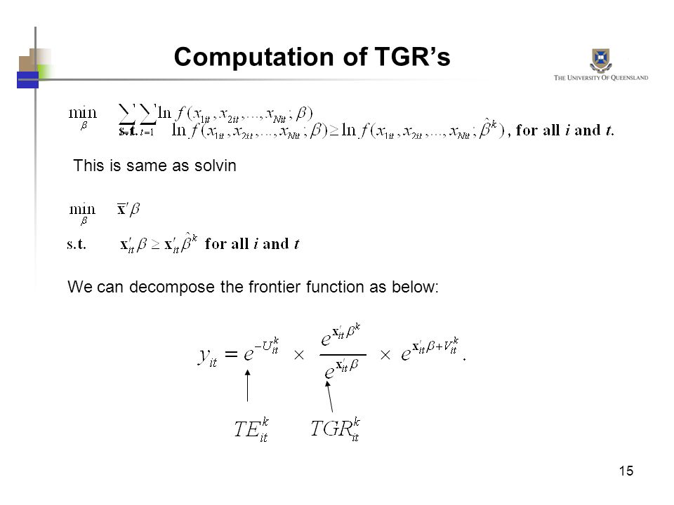 Computation of TGR's This is same as solvin