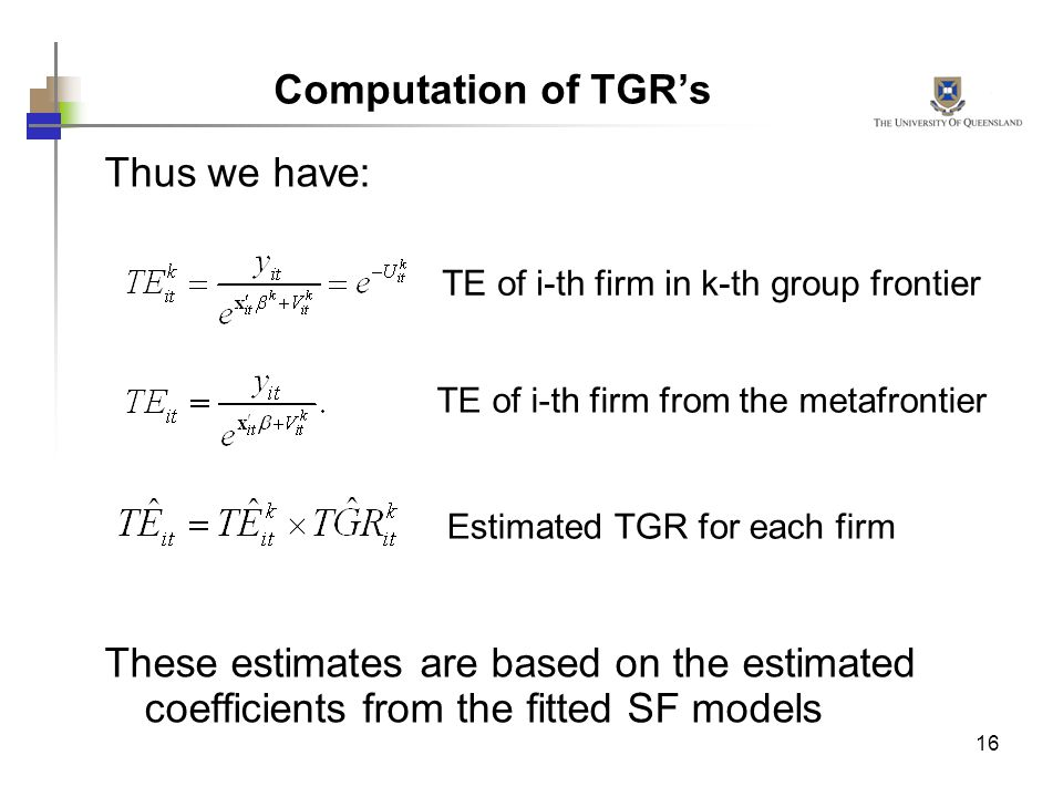 Computation of TGR's Thus we have: