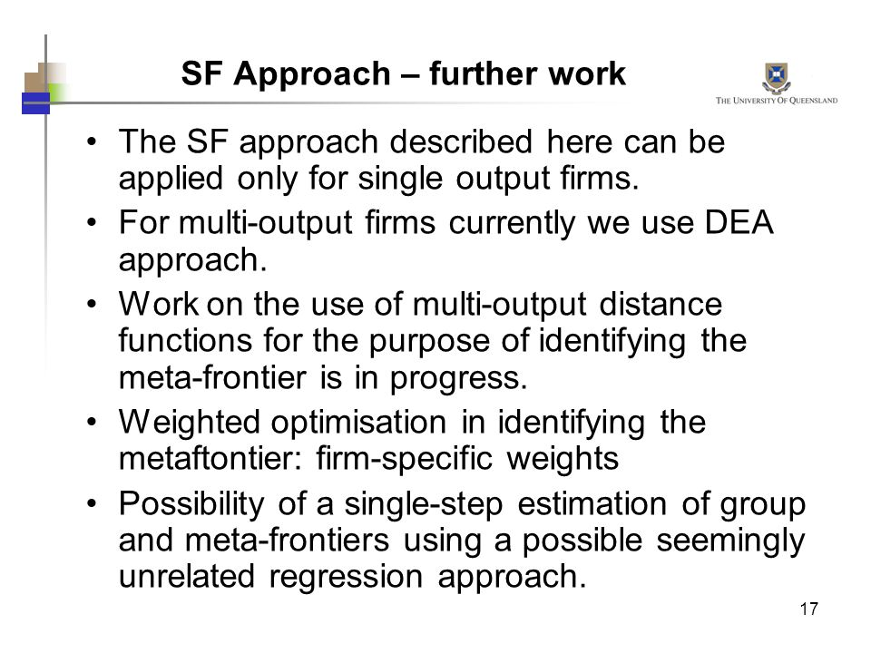 SF Approach – further work
