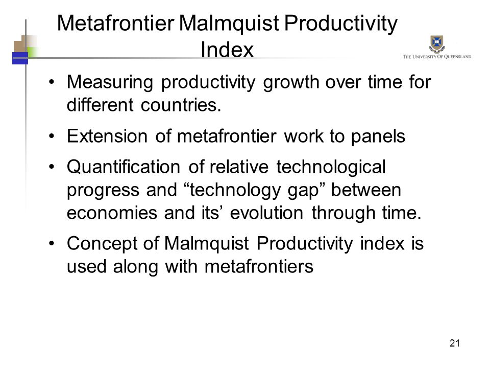Metafrontier Malmquist Productivity Index