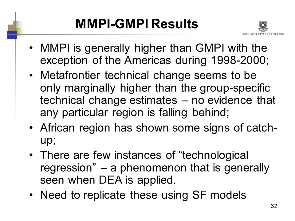 MMPI-GMPI Results MMPI is generally higher than GMPI with the exception of the Americas during ;